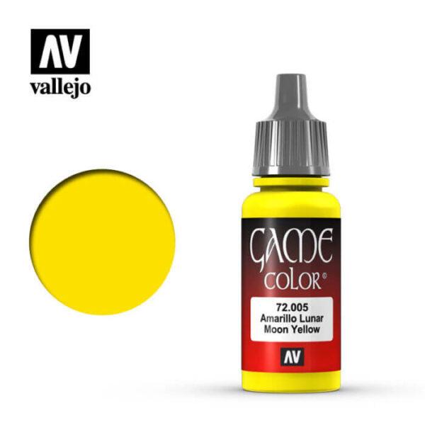 72005 Amarillo lunar-Bald moon yellow Esta gama de pinturas acrílicas, ha sido diseñada especialmente para contener todos los colores utilizados frecuentemente en figuras de fantasía. Los colores se presentan en botellas de 17 ml.