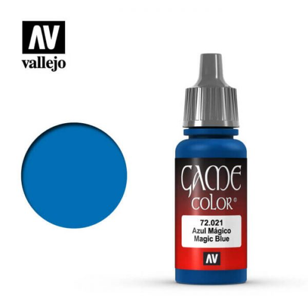 72021 Azul mágico-Magic blue Esta gama de pinturas acrílicas, ha sido diseñada especialmente para contener todos los colores utilizados frecuentemente en figuras de fantasía. Los colores se presentan en botellas de 17 ml.