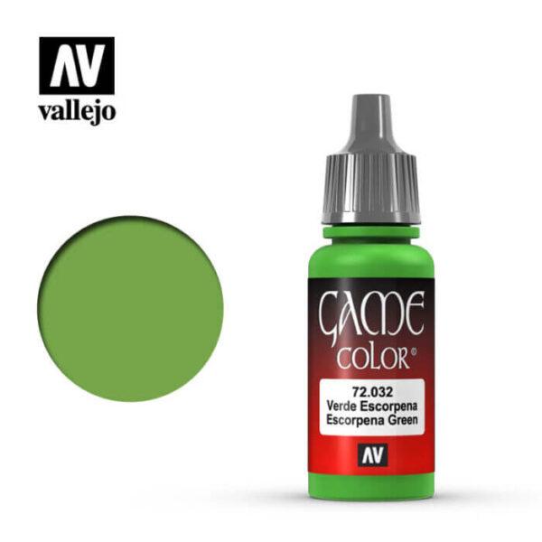 72032 Verde escorpena-Scorpy green Esta gama de pinturas acrílicas, ha sido diseñada especialmente para contener todos los colores utilizados frecuentemente en figuras de fantasía. Los colores se presentan en botellas de 17 ml.