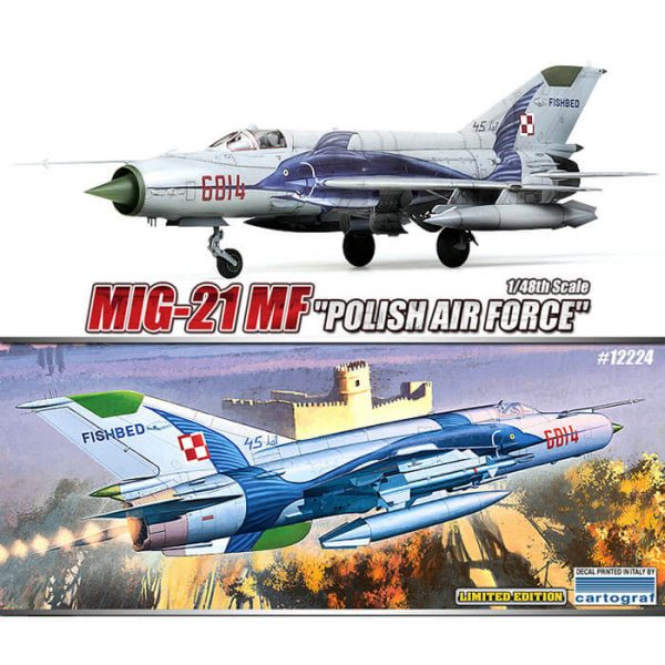 Academy 12224 Mig-21 MF Polish Air Force 1/48 Kit en plástico para montar y pintar. Incluye fotograbados.