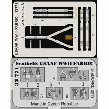 EDUARD 32771 Seatbelts USAAF WWII Fabric 1/32 Cinturones de seguridad impresos a color y hebillas en fotograbado para los aviones de la USAAF durante la Segunda Guerra Mundial.