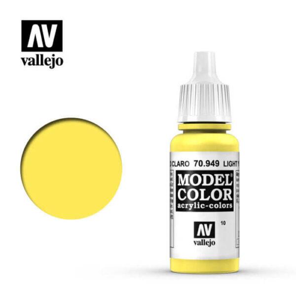 acrylicos vallejo 010 Amarillo claro-Light yellow 70.949 17ml Model Color es la gama mas amplia de pinturas acrílicas para Modelismo.