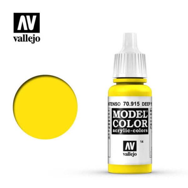 acrylicos vallejo 014 Amarillo intenso-Deep yellow 70.915 17ml Model Color es la gama mas amplia de pinturas acrílicas para Modelismo.