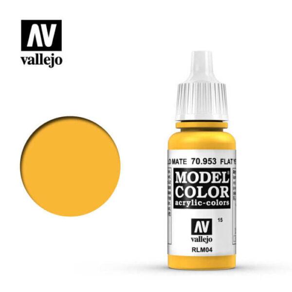 acrylicos vallejo 015 Amarillo mate-Flat yellow 70.953 17ml Model Color es la gama mas amplia de pinturas acrílicas para Modelismo.
