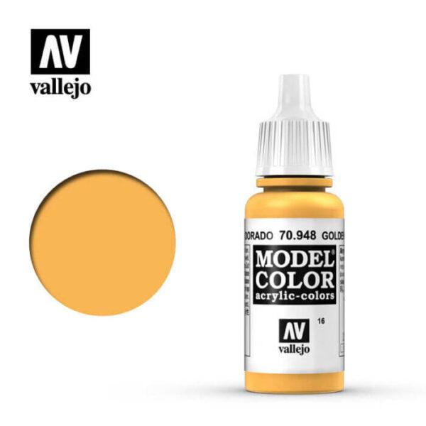 acrylicos vallejo 016 Amarillo dorado-Golden yellow 70.948 17ml Model Color es la gama mas amplia de pinturas acrílicas para Modelismo.