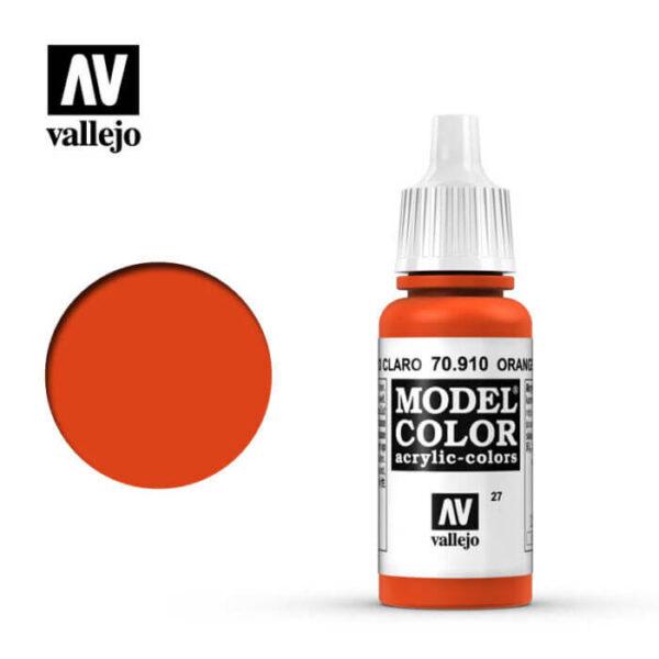 acrylicos vallejo 027 Rojo cadmio claro-Orange red 70.910 17ml Model Color es la gama mas amplia de pinturas acrílicas para Modelismo.