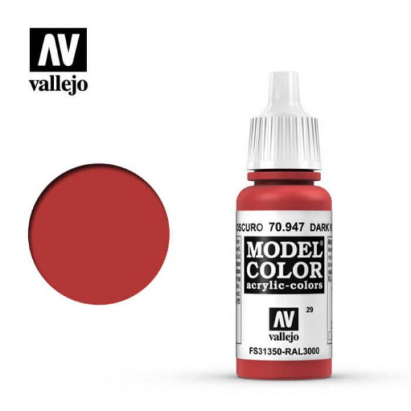 acrylicos vallejo 029 Bermellón-Red 70.947 17ml Model Color es la gama mas amplia de pinturas acrílicas para Modelismo