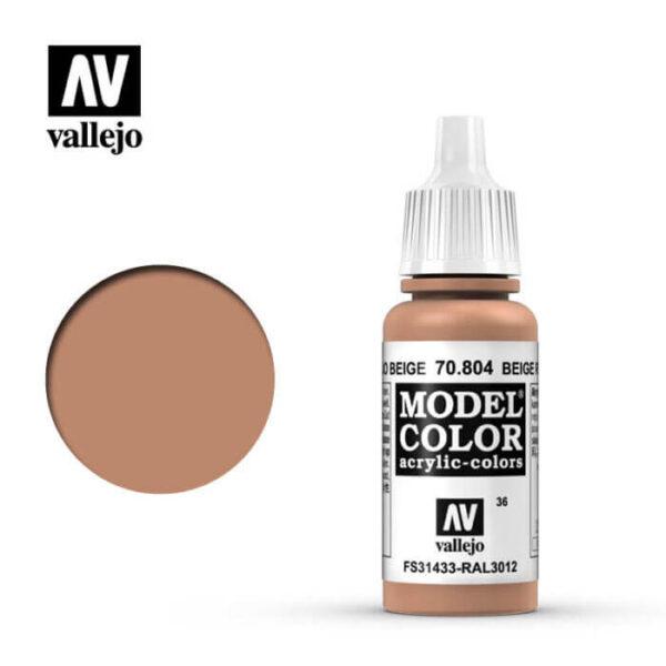 acrylicos vallejo 036 Rojo beige-Beige red 70.804 17ml Model Color es la gama mas amplia de pinturas acrílicas para Modelismo.