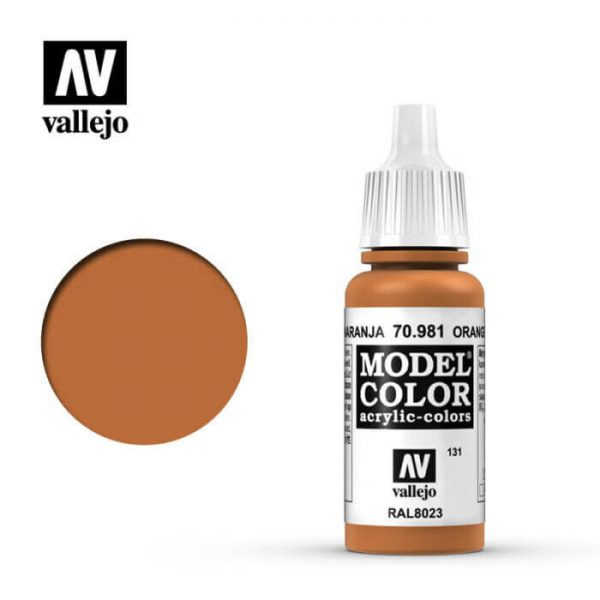 acrylicos vallejo 131 Marrón naranja-Orange brown 70.981 17ml Model Color es la gama mas amplia de pinturas acrílicas para Modelismo.