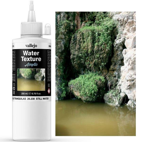 acrylicos vallejo av26230 Still Water Aguas Tranquilas . Perfecto para charcos, estanques, canales y lagos. Presentación: En tarros de 200 ml.
