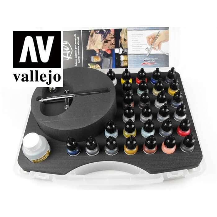 acrylicos vallejo 71172 Maletín Colores Básicos con Aerógrafo Ultra H S