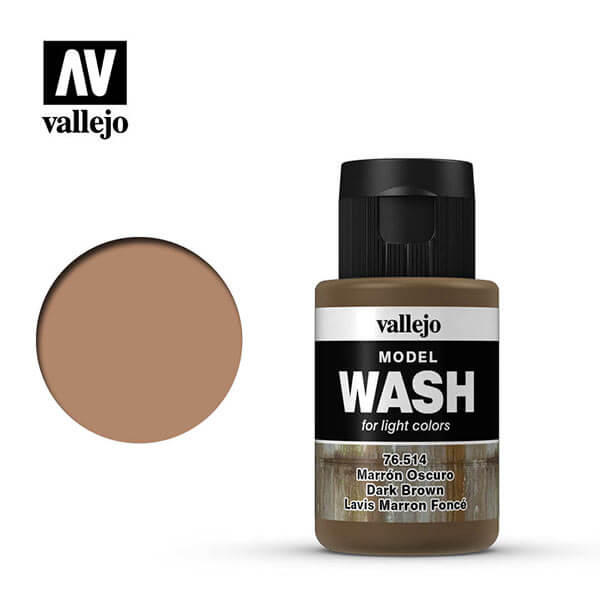 acrylicos vallejo 76514 Model Wash Marrón oscuro Dark brown 35ml