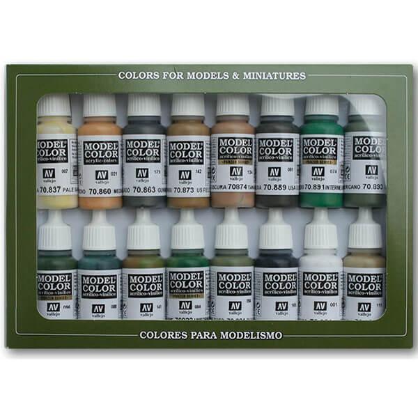 acrylicos vallejo Colores WWII Aliados Estuche de 16 colores Model Color para pintar maquetas, miniaturas y dioramas. Contiene botellas de 17 ml./0.57 fl.oz. (con cuentagotas) y una carta de colores.