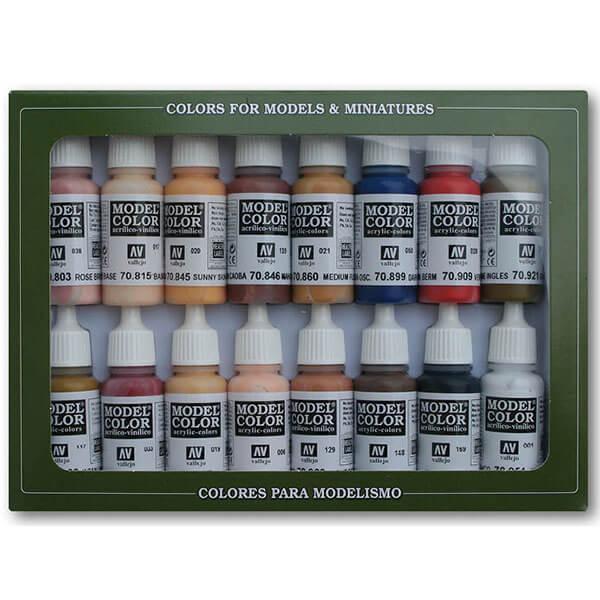 acrylicos vallejo Estuche 16 Colores Piel y Cara Estuche de 16 colores Model Color para pintar maquetas, miniaturas y dioramas. Contiene botellas de 17 ml./0.57 fl.oz. (con cuentagotas) y una carta de colores.