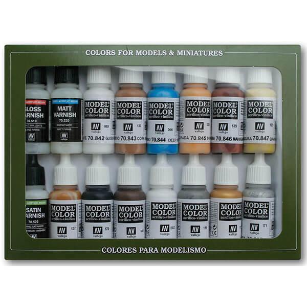 acrylicos vallejo Folkstone Specialist Estuche de 16 colores Model Color para pintar maquetas, miniaturas y dioramas. Contiene botellas de 17 ml./0.57 fl.oz. (con cuentagotas) y una carta de colores.