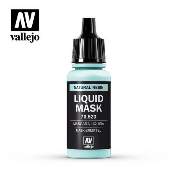 Acrylicos Vallejo 70523 Máscara Líquida 17ml Máscara Líquida forma una película protectora sobre la zona del trabajo que se desea reservar.
