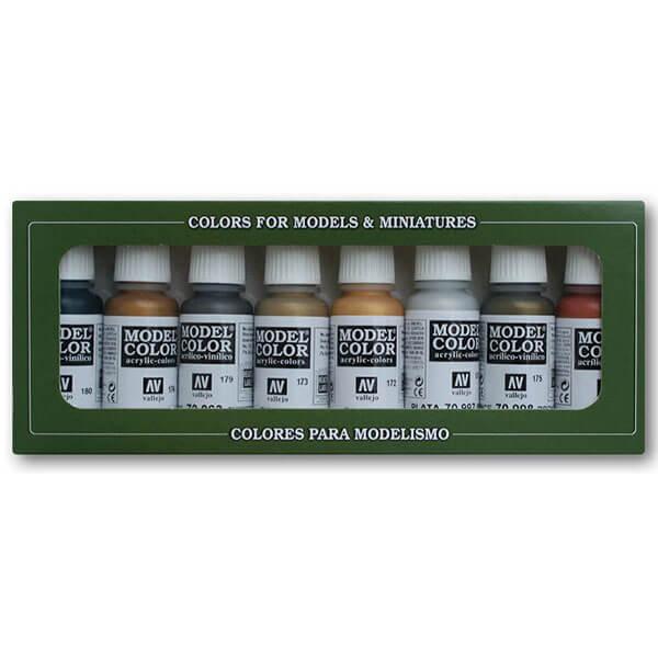acrylicos vallejo 70.1148 Colores Metálicos Estuche de 8 colores Model Color para pintar maquetas, miniaturas y dioramas. Contiene 8 botellas de 17 ml./0.57 fl.oz. (con cuentagotas) y una carta de colores.
