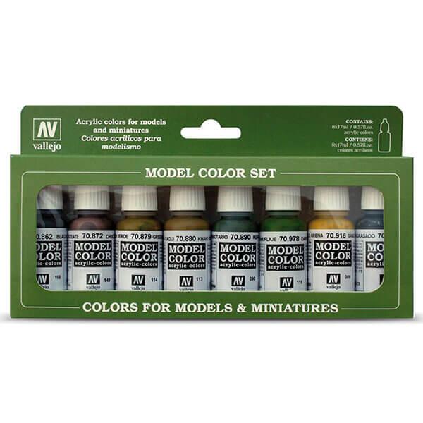 acrylicos vallejo Colores Panzer 70.108 Estuche de 8 colores Model Color para pintar maquetas, miniaturas y dioramas. Contiene botellas de 17 ml./0.57 fl.oz. (con cuentagotas) y una carta de colores.