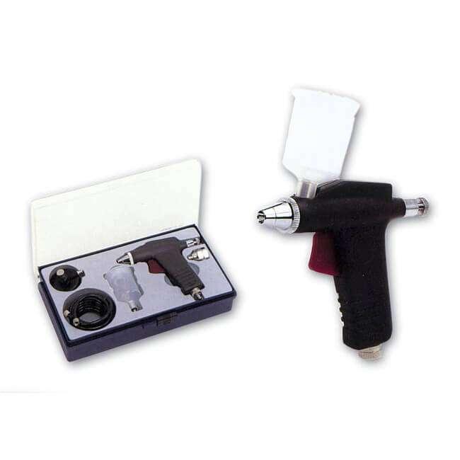 Pistola Aerográfica D-105 Dismoer Aerógrafo de acción simple: -Obturador de 0,3mm. -Copa de 22cc. -Incluye manguera y adaptador para bote de gas. Aerógrafo robusto y de fácil manejo.Ideal para iniciarse y para todo tipo de trabajos generales.