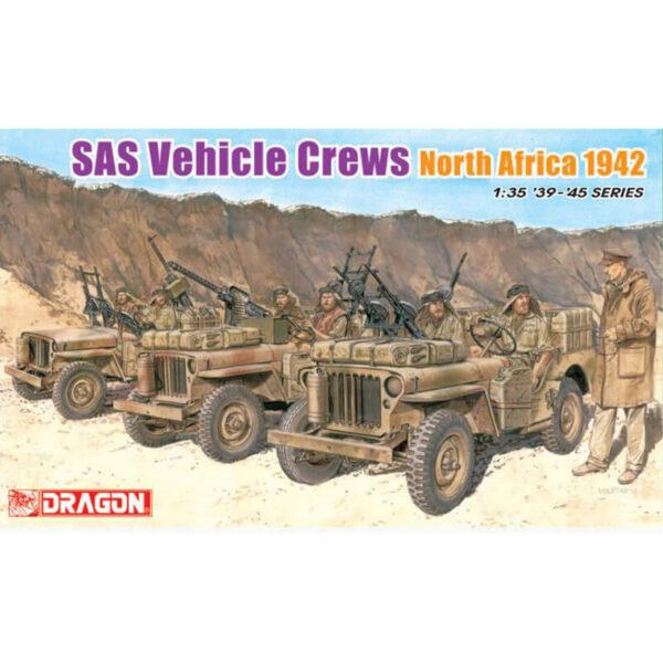 dragon 6682 SAS Vehicle Crews North Africa 1942 Kit en plástico para montar y pintar. Esta compuesto por siete figuras.