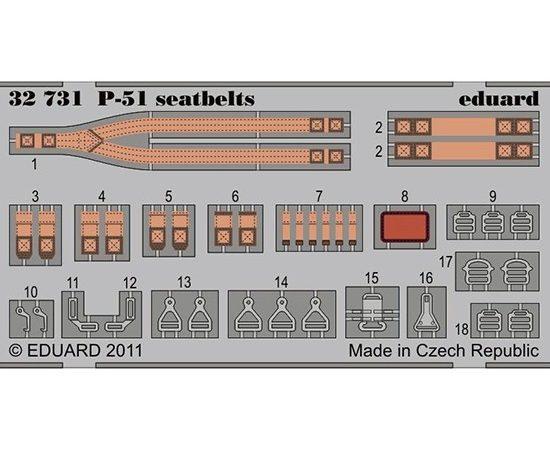 eduard 32731 P-51 Mustang Seatbelts 1/32 Cinturones de seguridad en fotograbado coloreado para el caza P-51 Mustang.