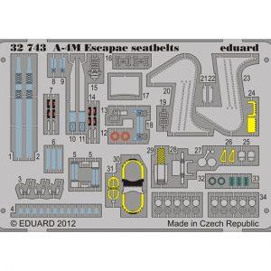eduard 32743 A-4M Skyhawk Escapac seatbelts 1/32 Cinturones de seguridad en fotograbado coloreado para el caza A-4M Skyhawk.