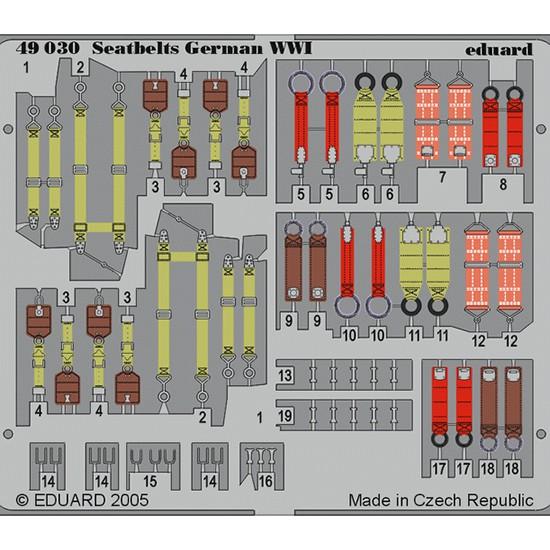 eduard 49030 Seatbelts German WWI 1/48 Cinturones de seguridad en fotograbado coloreado para los aviones alemanes durante la Primera Guerra Mundial.