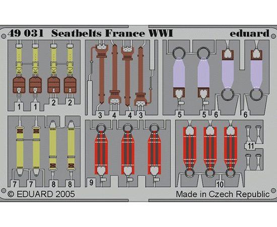 eduard 49031 Seatbelts France WWI 1/48 Cinturones de seguridad en fotograbado coloreado para los aviones franceses durante la Primera Guerra Mundial.