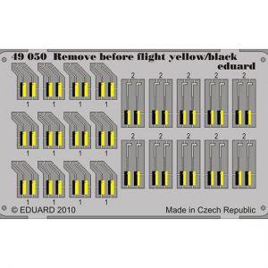 eduard 49050 Remove Before Flight yellow/black 1/48 Piezas en fotograbado impreso a color de los letreros Remove Before Flight de la Fuerza Aérea.