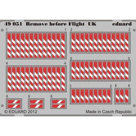 eduard 49051 Remove Before Flight UK 1/48 Piezas en fotograbado impreso a color de los letreros Remove Before Flight de la Fuerza Aérea Británica.
