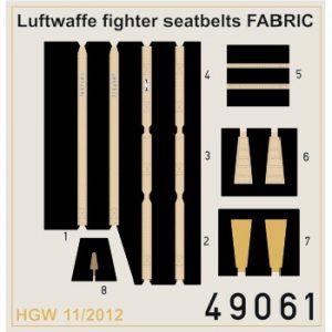 eduard 49061 Seatbelts Luftwaffe WWII Fighters Fabric 1/48 Cinturones de seguridad impresos a color y hebillas en fotograbado para los aviones de caza alemanes durante la Segunda Guerra Mundial.
