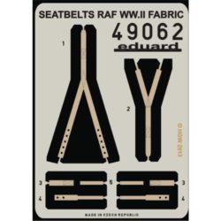 eduard 49062 Seatbelts RAF WWII FABRIC 1/48 Cinturones de seguridad impresos a color y hebillas en fotograbado para las maquetas de aviones de la Real Fuerza Aérea durante la Segunda Guerra Mundial.