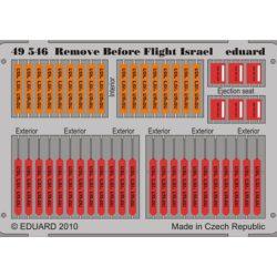 eduard 49546 Remove Before Flight Israel 1/48 Piezas en fotograbado impreso a color de los letreros Remove Before Flight del ejército Israelí.