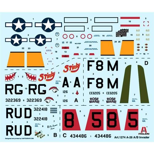 italeri 1274 A-26A/B Invader Kit en plástico para montar y pintar. Hoja de calcas con 4 decoraciones escala 1/72