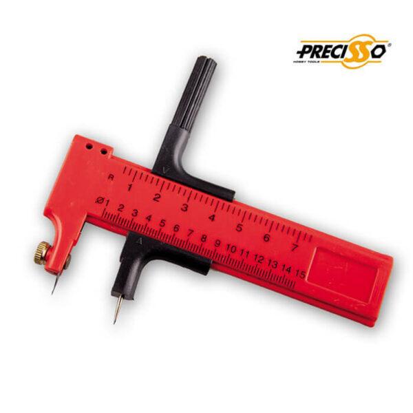 PRECAC0016 Compass Cutter 70mm Precisso Compas de corte para papel, plástico, cuero, vinilo.... Corta círculos de diámetros entre 10mm y 150mm