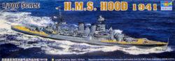 trumpeter 05740 H.M.S. Hood 1941 1/700 Kit en plástico para montar y pintar. Permite la opción de exponerlo con el casco completo o por la linea de flotación.