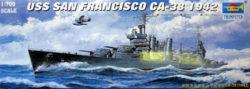 trumpeter 05746 USS San Francisco CA-38 1942 1/700 Kit en plástico para montar y pintar. Permite la opción de exponerlo con el casco completo o por la línea de flotación (Waterline)