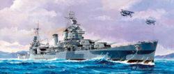 trumpetewr 05747 USS San Francisco CA-38 1944 1/700 Kit en plástico para montar y pintar. Permite la opción de exponerlo con el casco completo o por la linea de flotación (Waterline).
