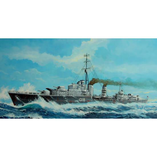 trumpeter 05758 Tribal-class destroyer HMS Zulu (F18) 1941 1/700 Kit en plástico para montar y pintar. Permite la opción de exponerlo con el casco completo o por la línea de flotación (Waterline).