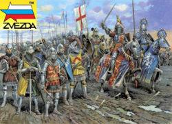 zvezda 8044 English Knights 100 Years War XIV-XV a.d. Kit en plástico para montar y pintar. Incluye 21 figuras a pie y 12 figuras a caballo en 10 posturas distintas.
