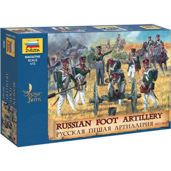 zvezda 8022 Russian Foot Artillery 1812-1814 1/72 Kit en plástico para montar y pintar. Incluye 20 figuras, 7 caballos y tres cañones.