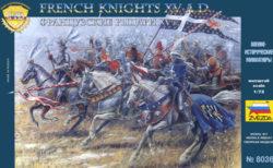 zvezda 8036 French Knights XV ad Kit en plástico para montar y pintar. Incluye 19 figuras a caballo en 9 posturas distintas.