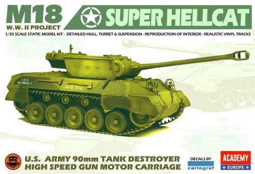 ACADEMY 35002 M18 Super Hellcat 90mm 1/35 Kit en plástico para montar y pintar. Incluye detalle de interior. Cadenas realistas en banda de goma. Calcas por Cartograf.