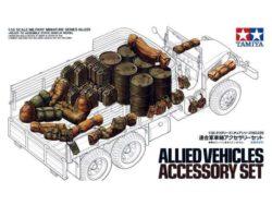 TAMIYA 35229 Allied Vehicles Accesory Set Kit en plástico para montar y pintar. Juego surtido de accesorios para vehículos aliados durante la SGM. Incluye bidones, latas de combustible, petates, mochilas, lonas, etc,