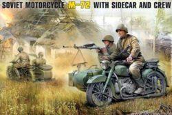 ZVEZDA 3639 Soviet M-72 Motorcycle w/ sidecar and crew 1/35 Kit en plástico para montar y pintar. Se puede montar en 2 versiones diferentes.