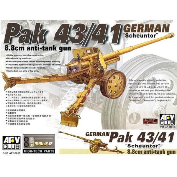 afv club 35059 Pak43/41 8.8cm Anti-tank Gun Scheuntor Kit en plástico para montar y pintar. Incluye el tubo del cañón torneado en aluminio y el escudo del cañón en latón preformado.