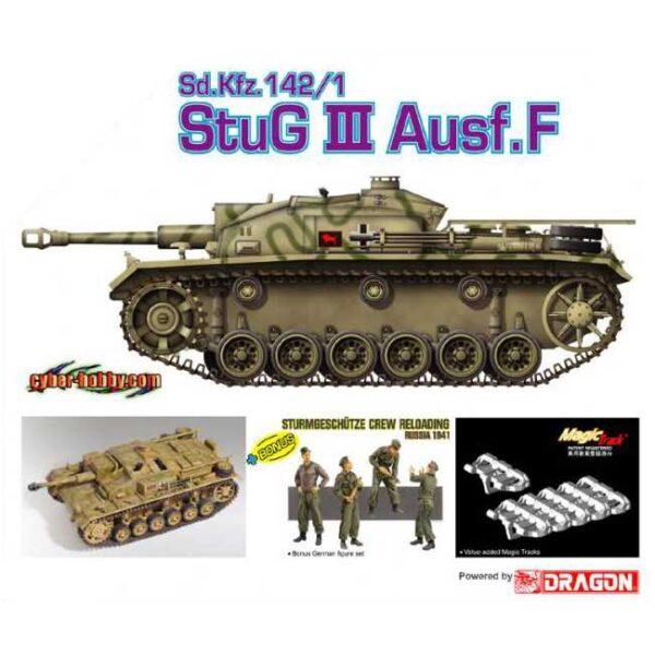 cyber hobby 9101 Sd.Kfz.142/1 Stug III Ausf.F Kit en plástico para montar y pintar. Incluye cadenas por eslabones. Bonus: 4 figuras
