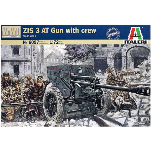 italeri 6097 USSR ZIS 3AT Gun with servants Kit para montar y pintar. Incluye 2 cañones y 12 figuras. Escala 1/72