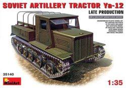 miniart 35140 Artillery Tractor Ya-12 Late Kit en plástico para montar y pintar. Incluye piezas en fotograbado y cadenas por eslabones individuales. Escala 1/35