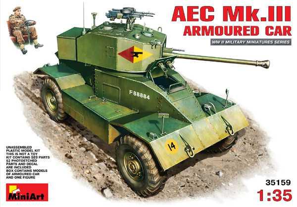 miniart 35159 AEC Mk.III Armoured Car Kit en plástico para montar y pintar. Interior completamente detallado. Incluye fotograbados. Escala 1/35